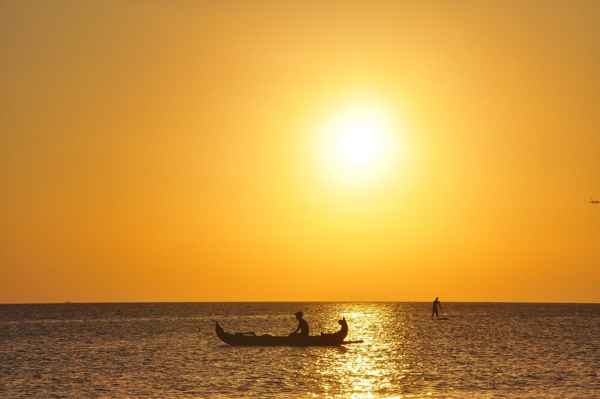 日落, 太阳, 海, 巴萨, 独木舟, 捕鱼 - 高清壁纸 - 教授-falken.com