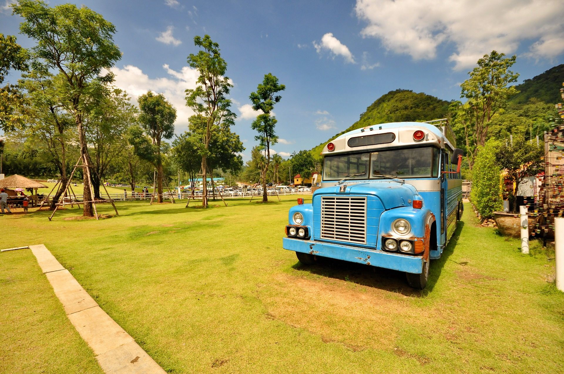 حافلة, القديمة, الرجعية, خمر, بارك, الأشجار - خلفيات عالية الدقة - أستاذ falken.com
