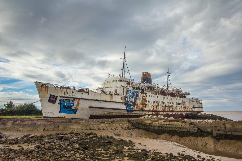 小船, 被遗弃, 老, deteriorado, varado, 涂鸦, 1702102016