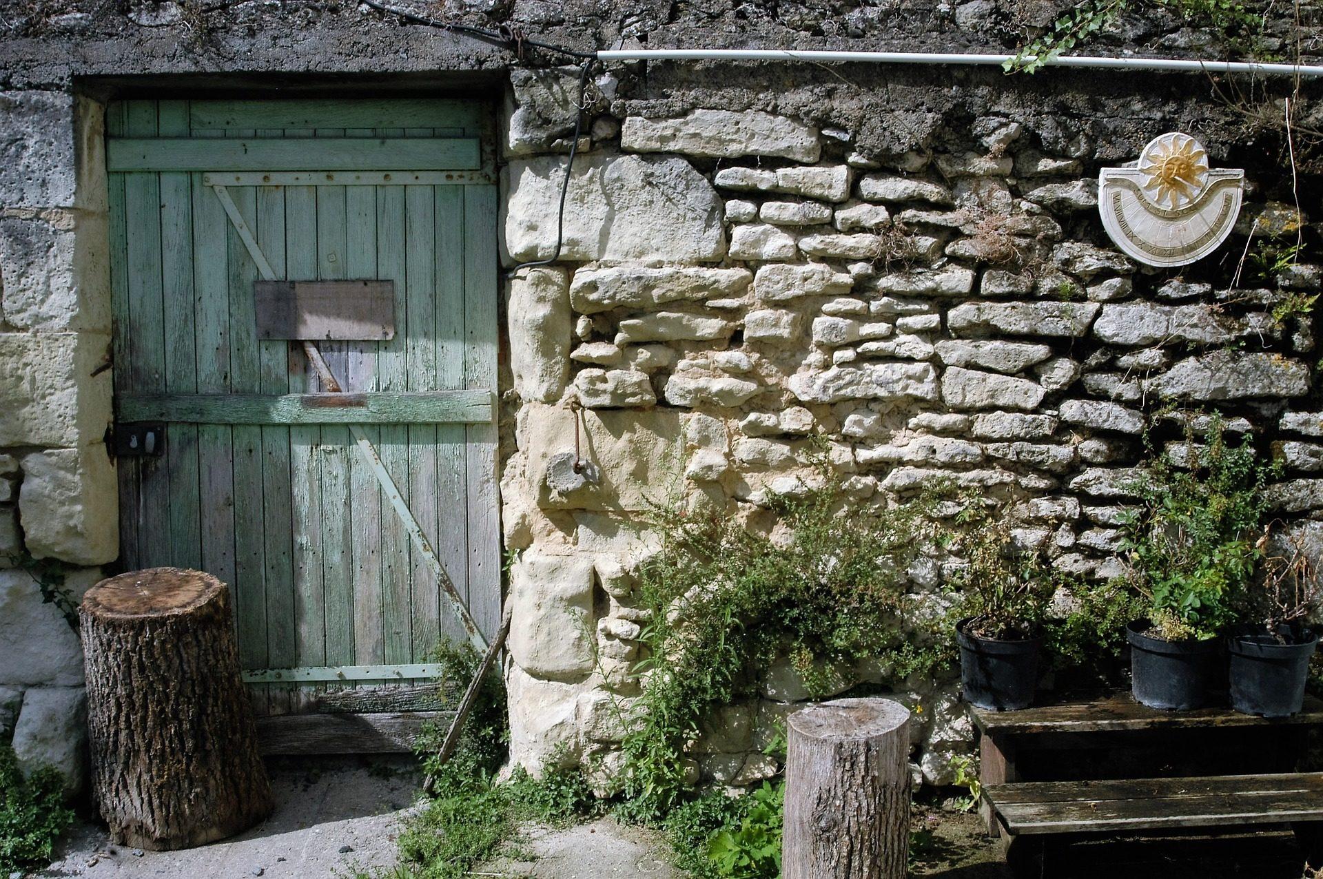 المنزل, المناطق الريفية, الجدار, الأحجار, الميدان, مصرف, جذوع - خلفيات عالية الدقة - أستاذ falken.com
