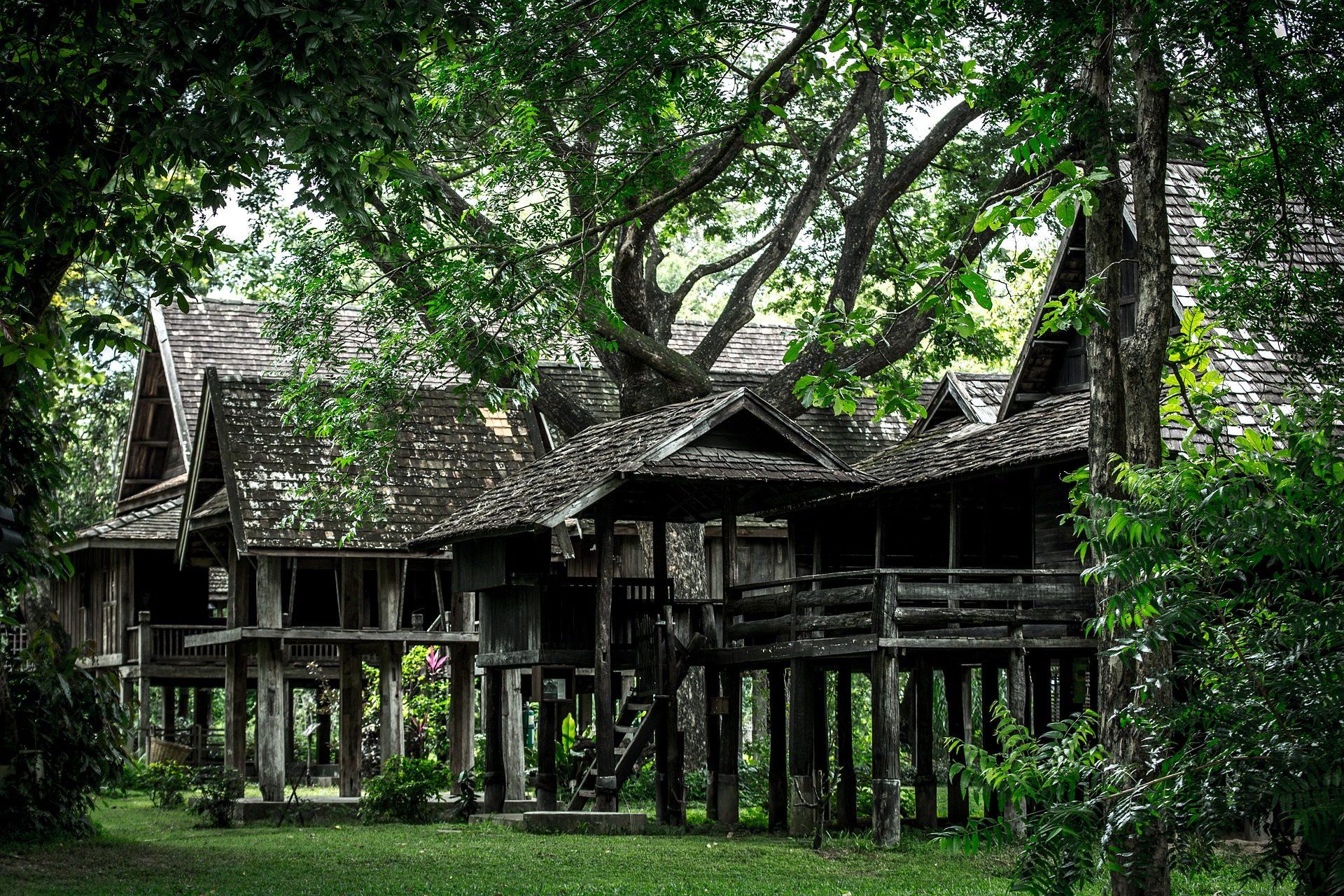 住宅, cobertizos, 小屋, 木材, ルーアン, タイ - HD の壁紙 - 教授-falken.com