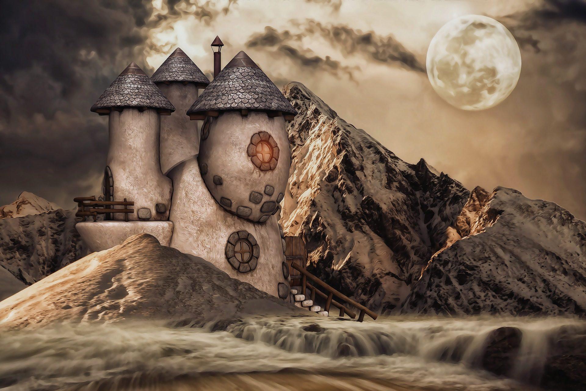 城, モンタナス, 月, 夜, 暗闇の中, 暗い - HD の壁紙 - 教授-falken.com