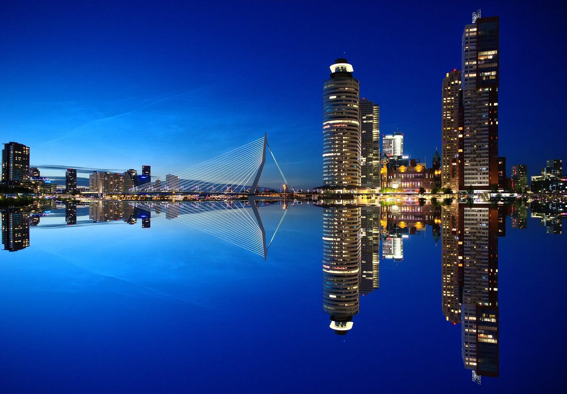 市, 夜, スカイライン, 超高層ビル, 反射, ロッテルダム - HD の壁紙 - 教授-falken.com