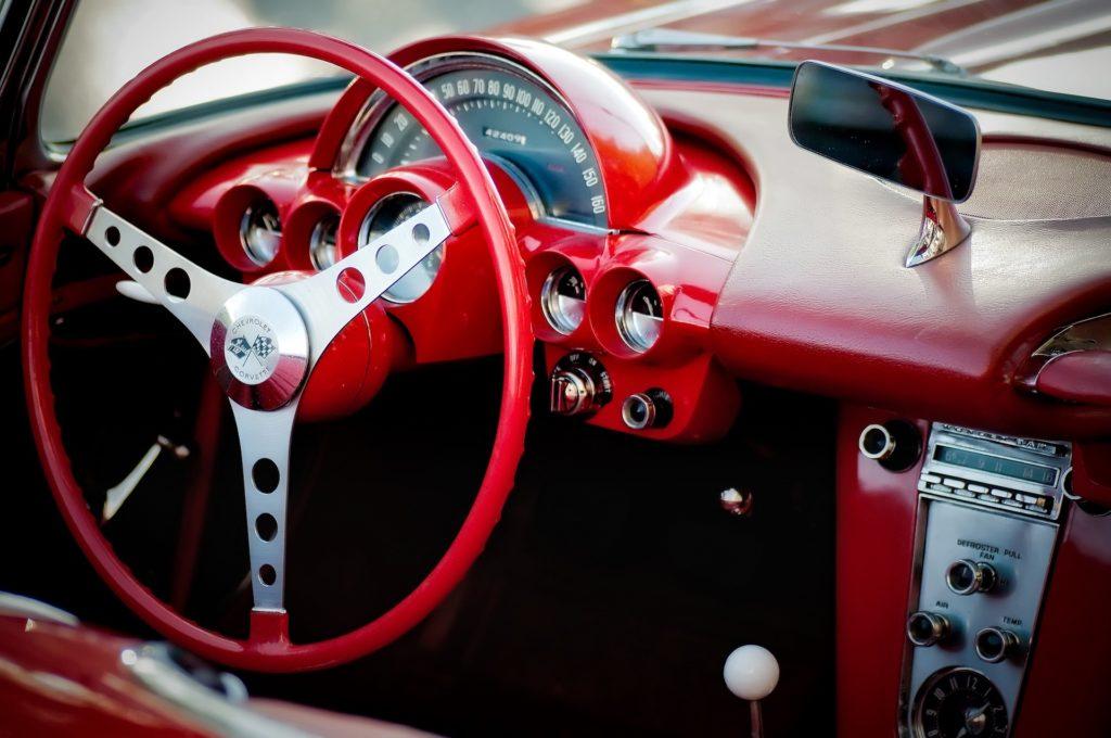 汽车, 里面, volante, salpicadero, 红色, 年份, 老, chevrolet, corvette, 1702121249