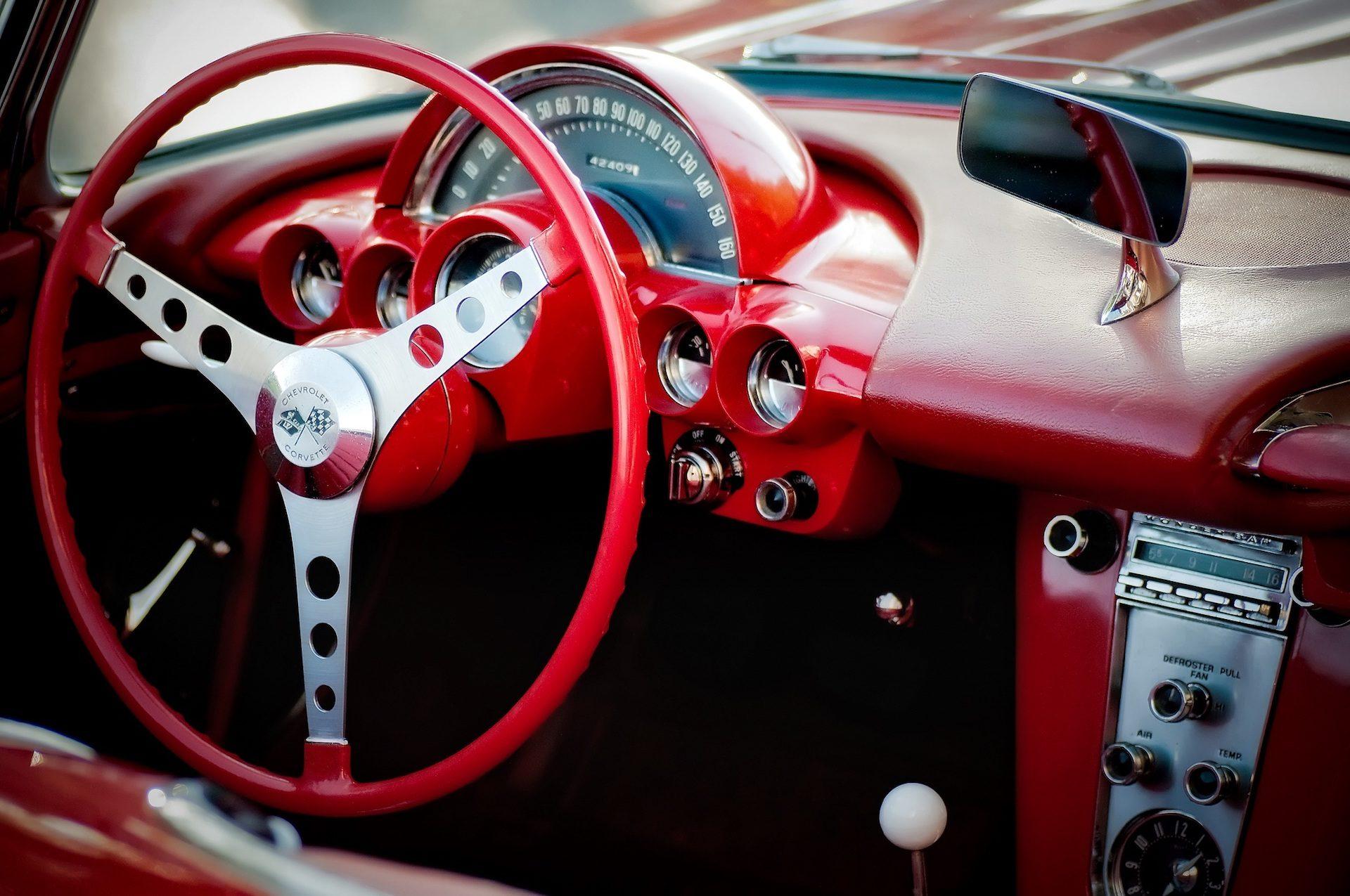 車, 内側, ステアリング ホイール, ダッシュ ボード, 赤, ヴィンテージ, 古い, シボレー, コルベット - HD の壁紙 - 教授-falken.com