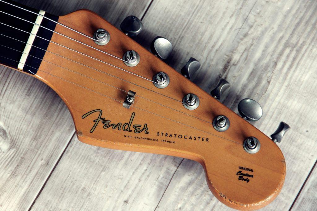 Guitare, tête, broches, mât, chaînes, bois, 1702201451