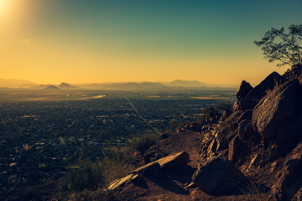 montañas, vistas, aéreas, lejanía, casas, árboles, niebla, 1702242225