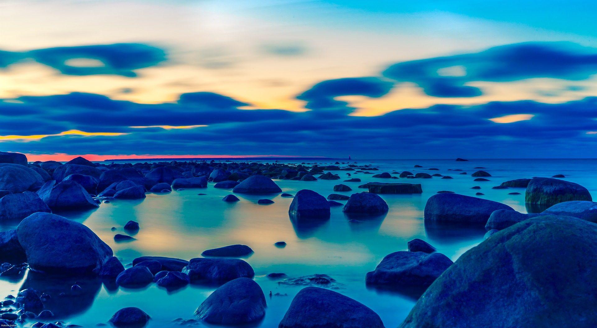 Fondos De Pantalla Del Mar: Océano, Mar, Piedras, Calma, Playa, Atardecer, Báltico