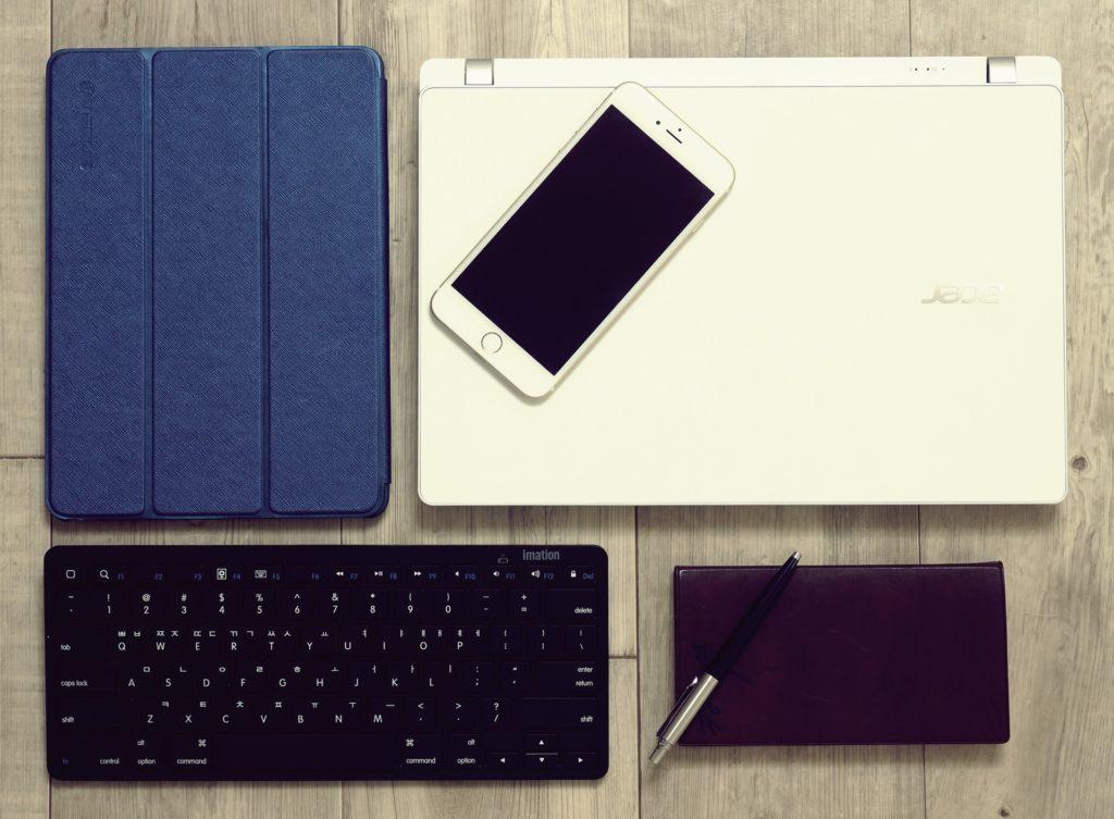 oficina, ordenador, portátil, teléfono, móvil, teclado, tablet, negocios, 1702202310