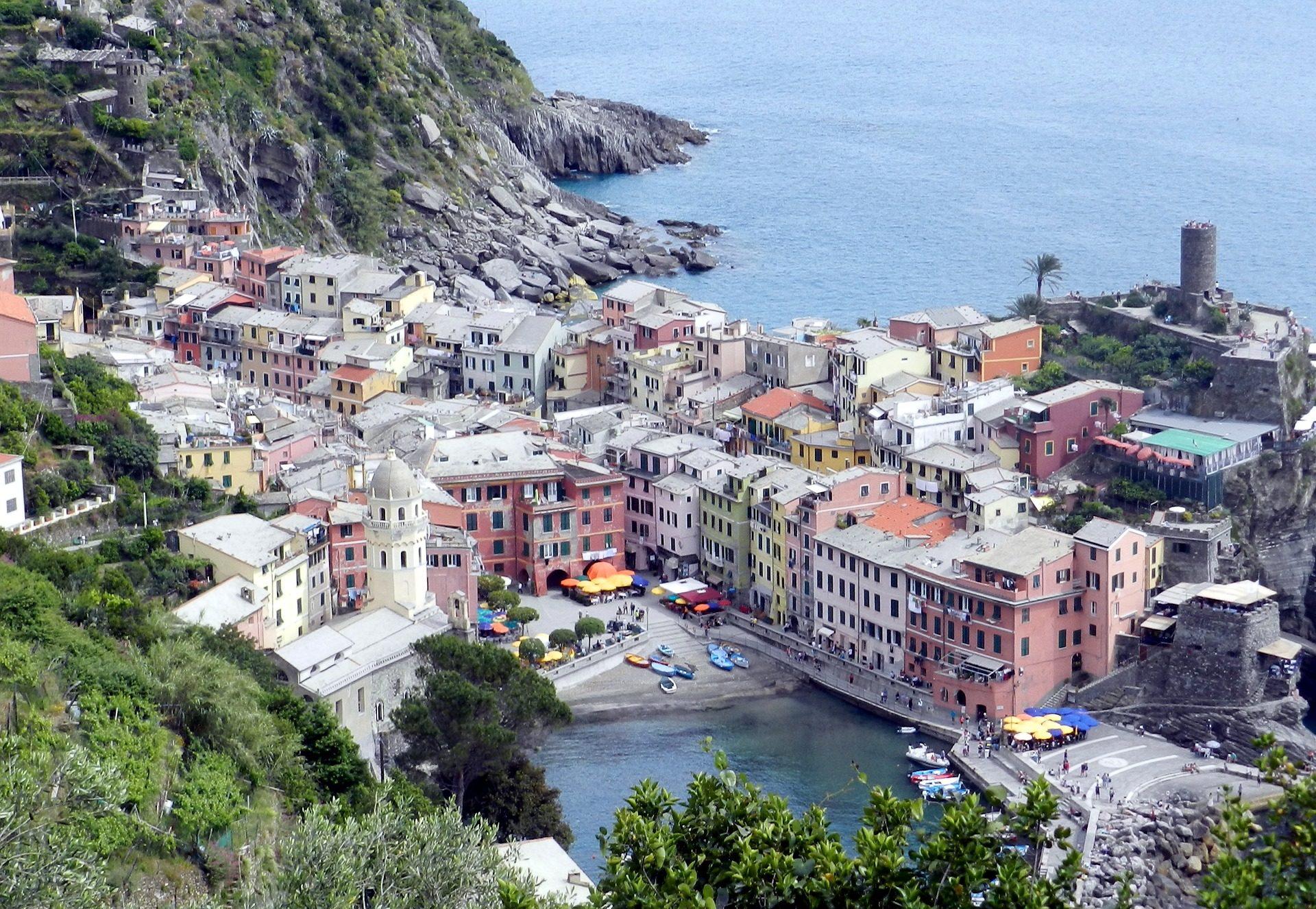 pueblo, casas, puerto, mar, montaña, liguria, italia - Fondos de Pantalla HD - professor-falken.com