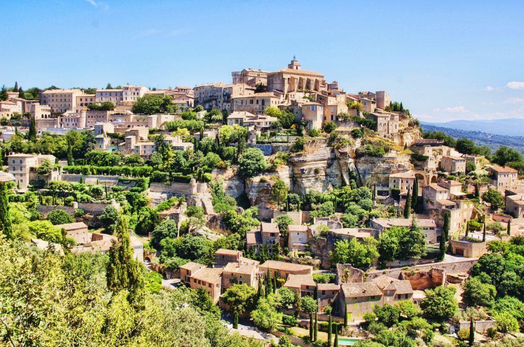 pueblo, montaña, colina, casas, provenza, villa, francia, 1702261426
