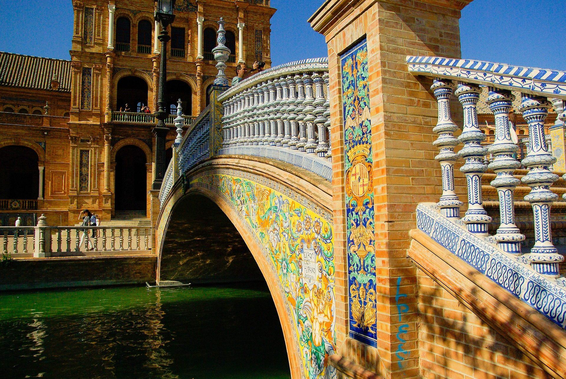 桥梁, 水, 广场, españa, 塔, sevilla, andalucía - 高清壁纸 - 教授-falken.com