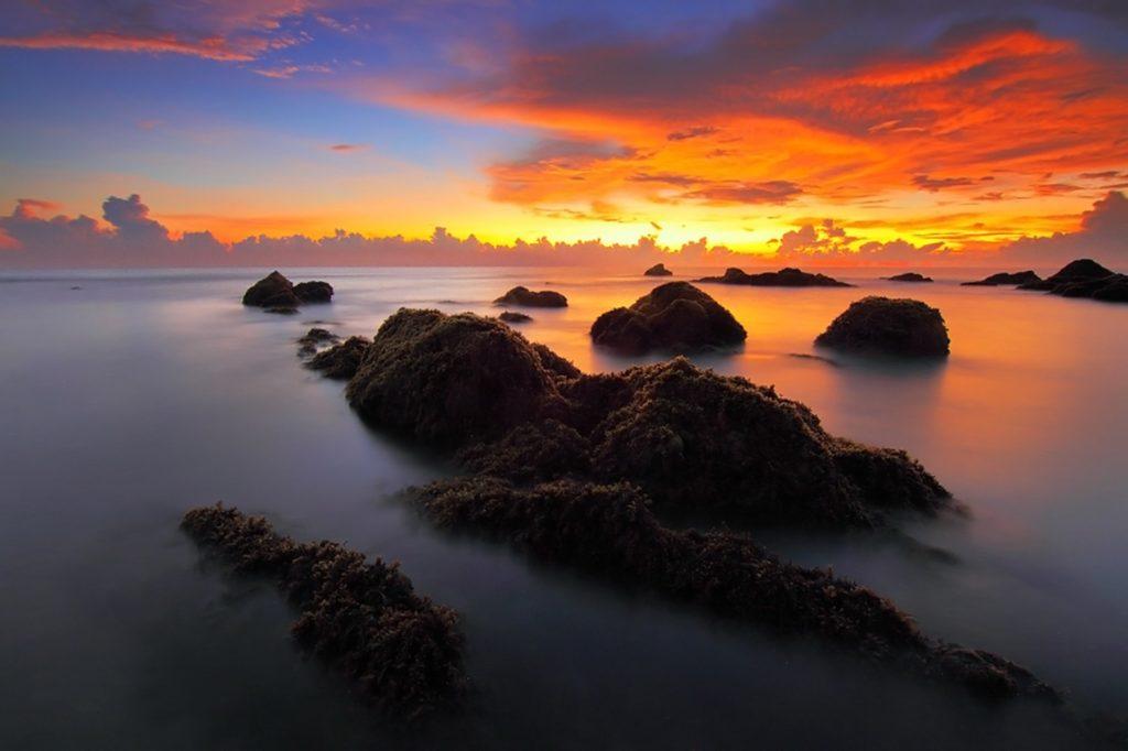 Rocas, Lake, Mer, pierres, brouillard, Sky, Coucher de soleil, 1702231105