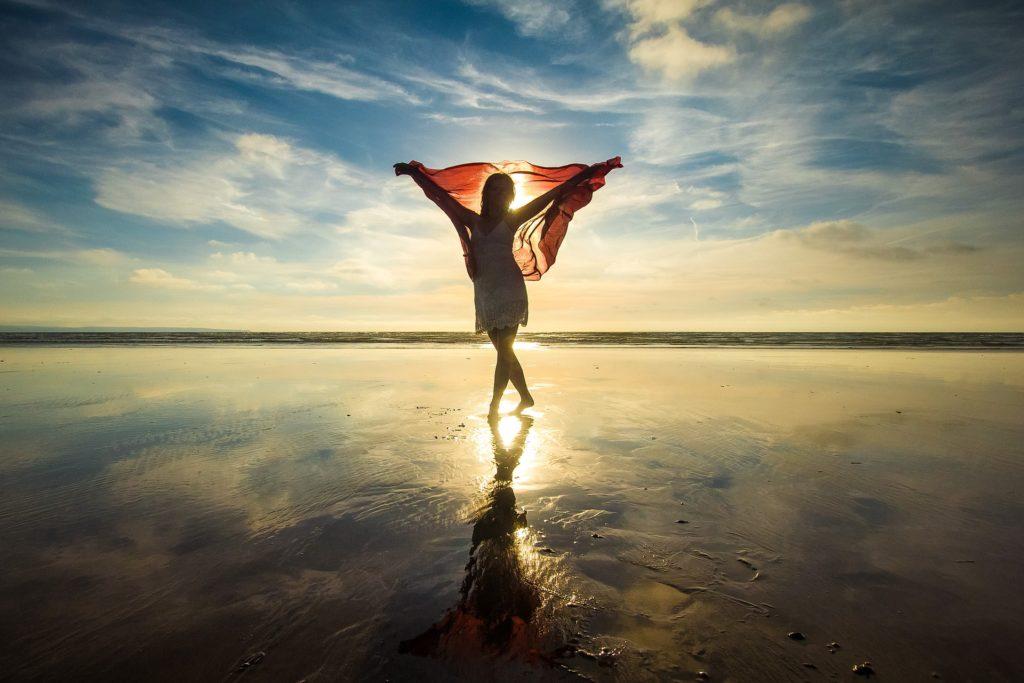 剪影, 女人, 海滩, 太阳, 反思, 闪存, 日落, 1702111503