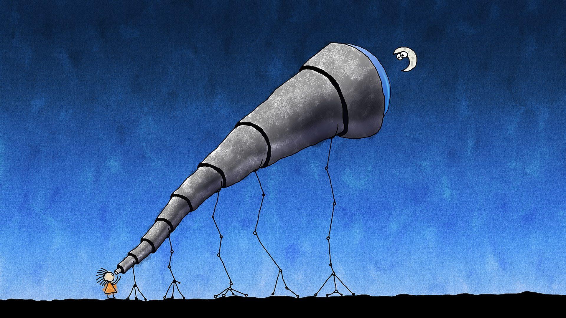 τηλεσκόπιο, μαριονέτα, Φεγγάρι, σχέδιο, νύχτα - Wallpapers HD - Professor-falken.com