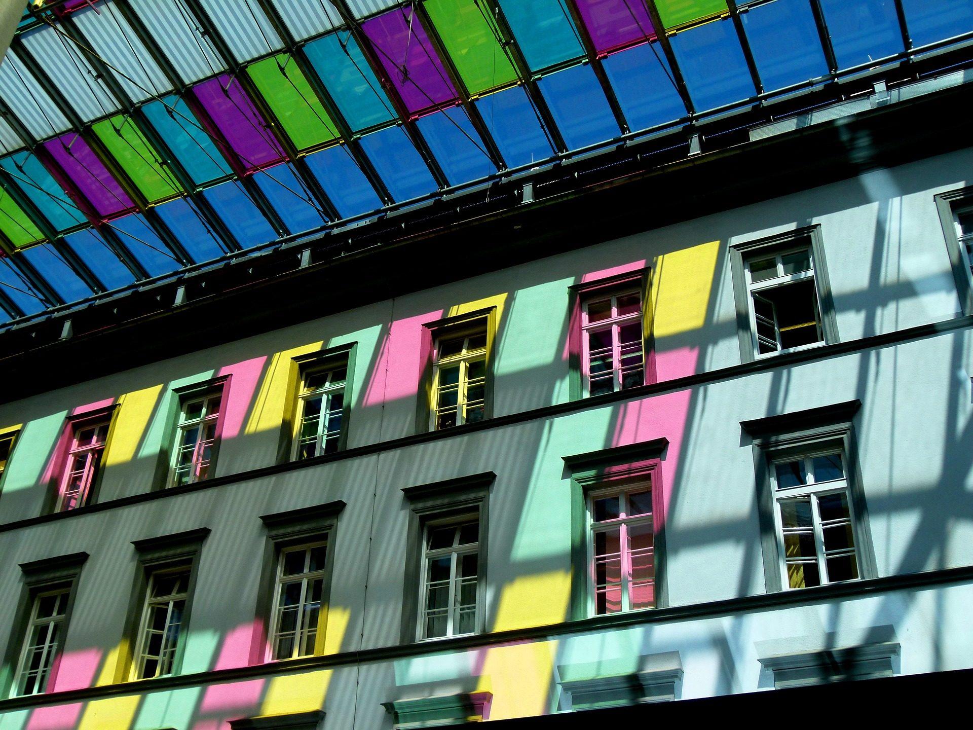 Windows, edifício, luzes, colorido, Mosaico, fachada - Papéis de parede HD - Professor-falken.com