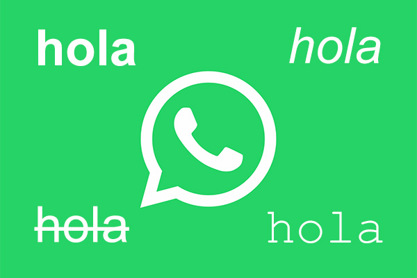 Как отправлять различные сообщения с стиля и шрифта на WhatsApp