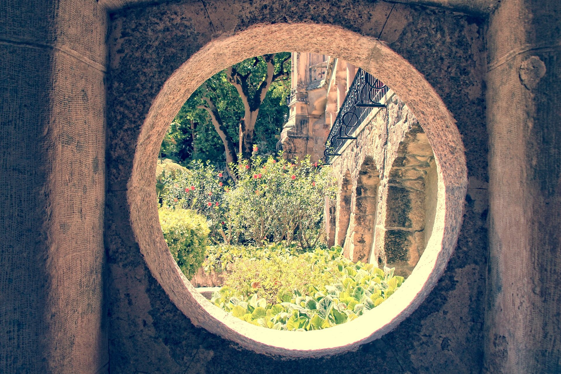 jardín, plantas, hueco, ventana, palacio, sintra, lisboa - Fondos de Pantalla HD - professor-falken.com