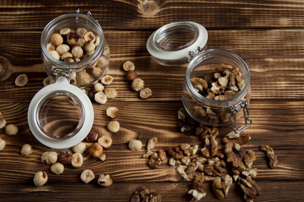 nueces, avellanas, tarros, Κρύσταλλο, ξύλο, frutos secos, 1703261941