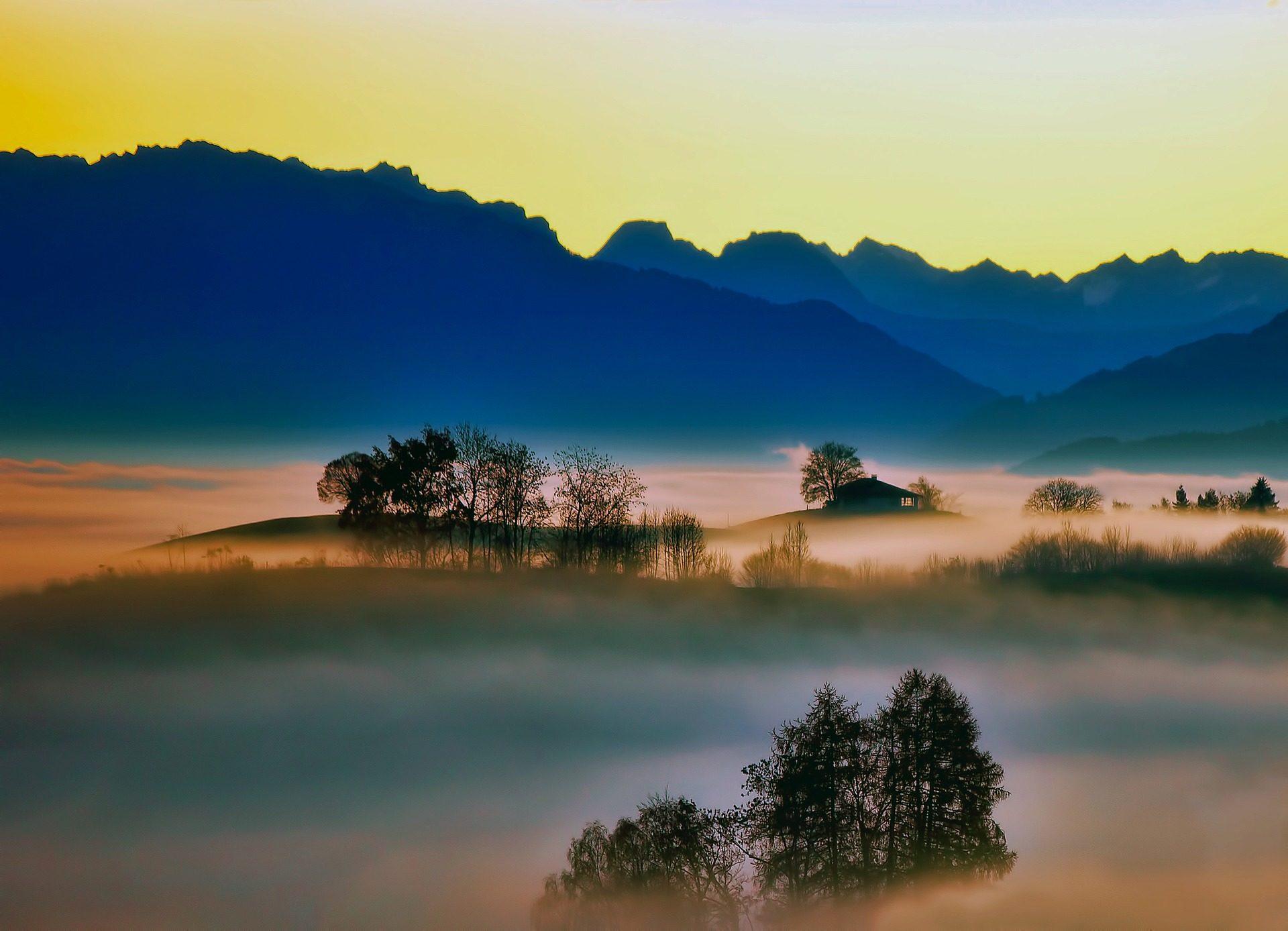 aube, brouillard, Montañas, humidité, arbres, silhouettes - Fonds d'écran HD - Professor-falken.com