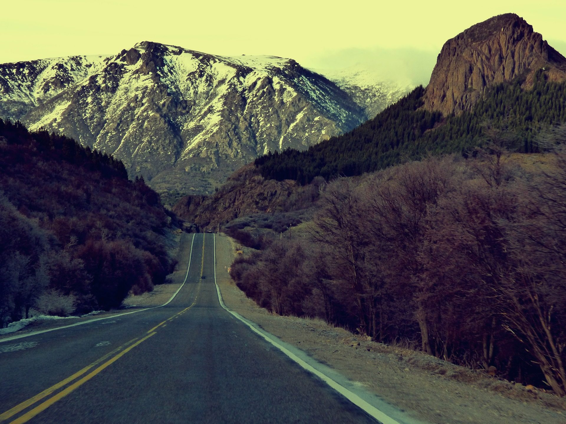 Дорога, Солитер, Монтанья, снег, лес, Осень - Обои HD - Профессор falken.com