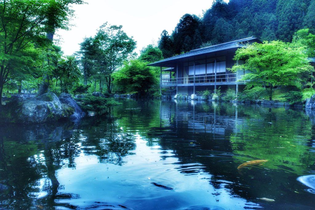 房子, 花园, 湖, 水, 石头, 树木, 禅宗, 日本, 1704202149