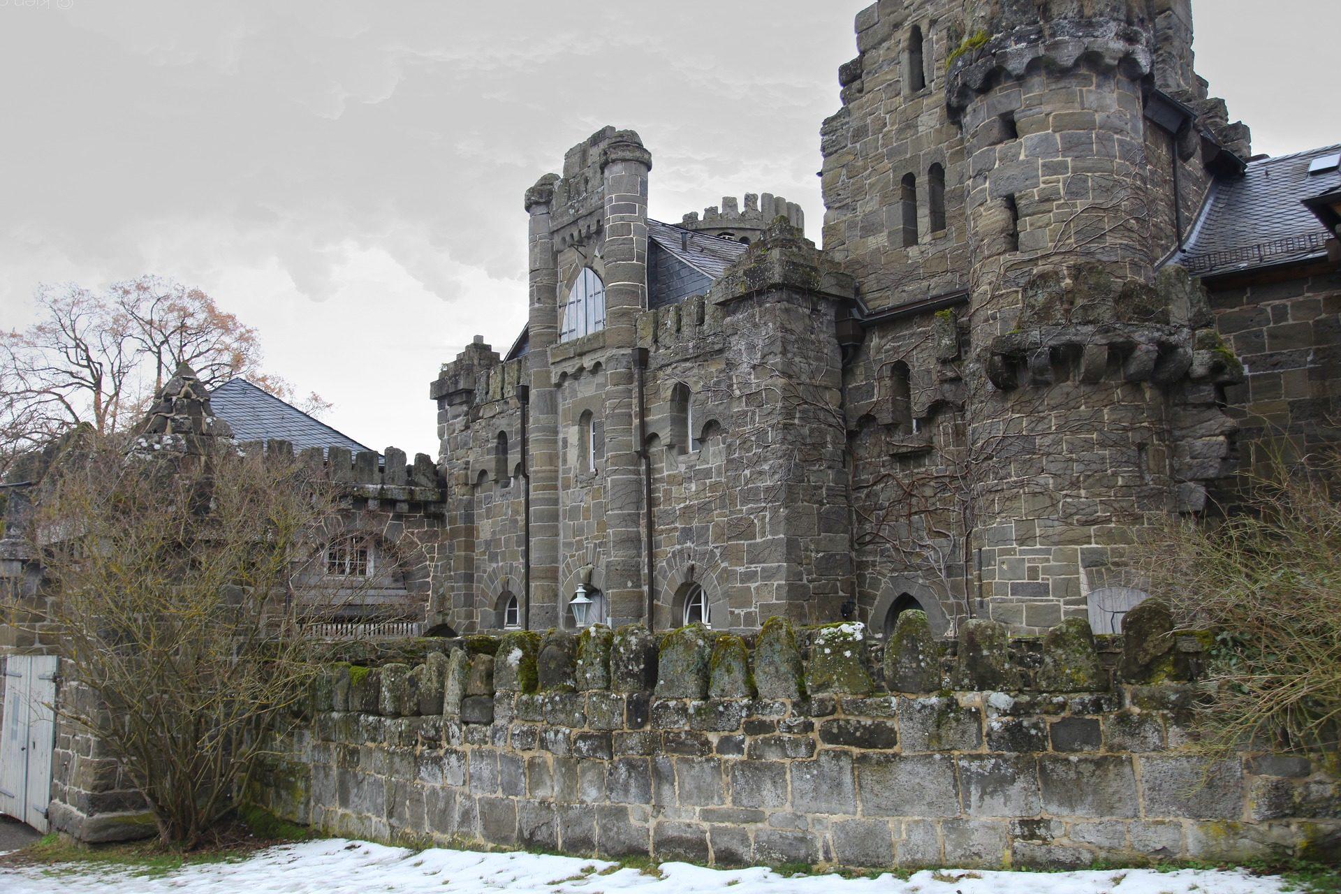 Замок, Торрес, Камень, Старый, снег, Германия - Обои HD - Профессор falken.com