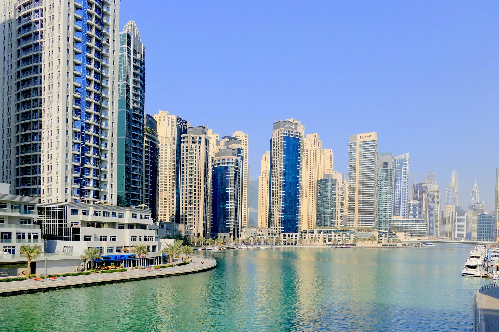 Город, Порт, небоскреб, здания, воды, на фоне линии горизонта, Дубай - Обои HD - Профессор falken.com