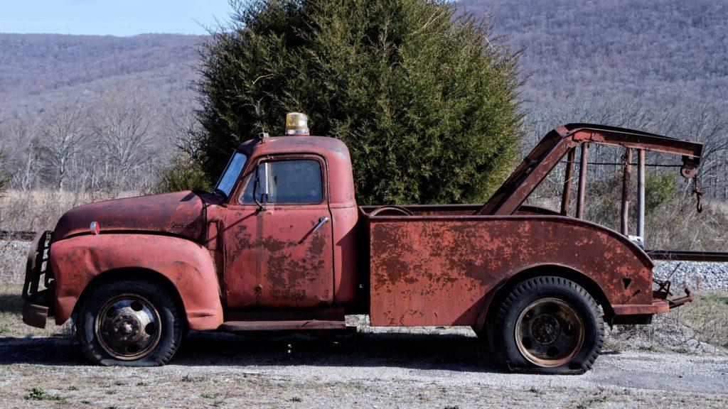coche, grúa, furgoneta, antigua, vintage, oxidada, 1704211831