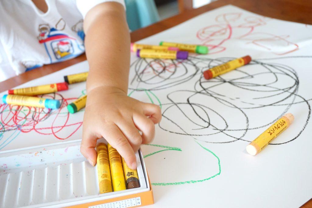 colores, pinturas, dibujo, mano, niño, ceras, 1704110830