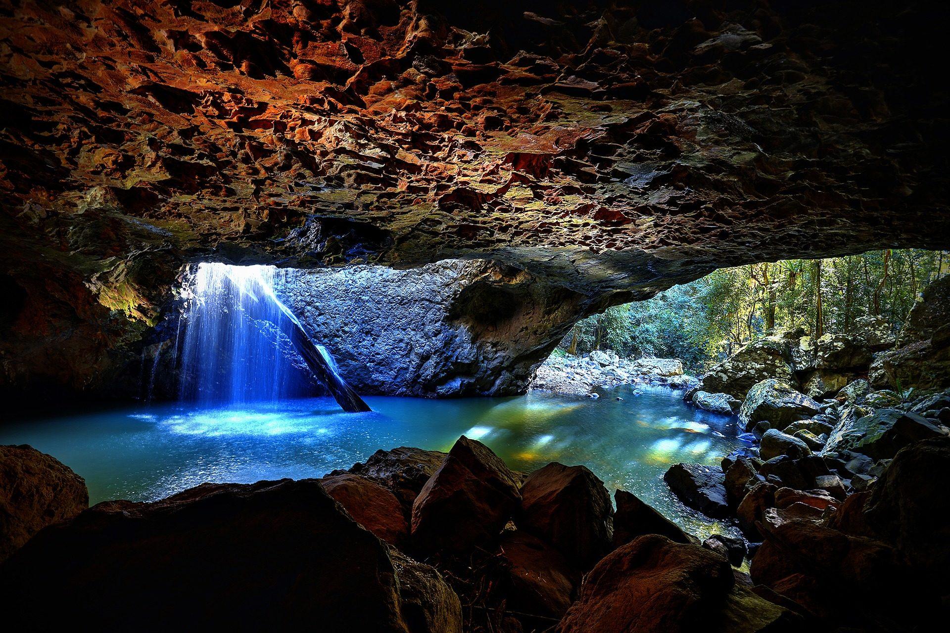 cueva, Cavern, Rocas, acqua, Brisbane, Australia - Sfondi HD - Professor-falken.com