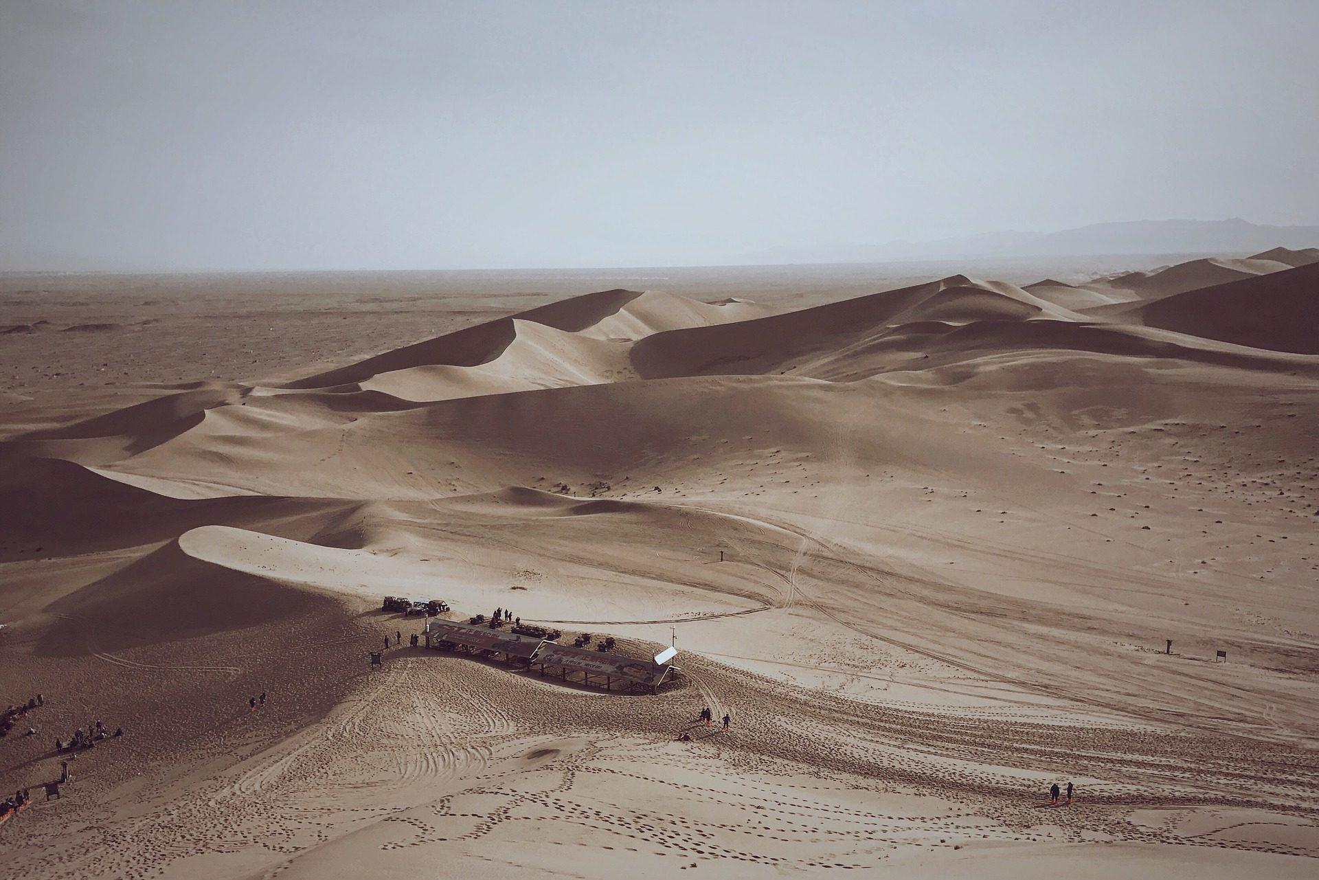 deserto, Dune, sabbia, orme, persone, Mingsha - Sfondi HD - Professor-falken.com
