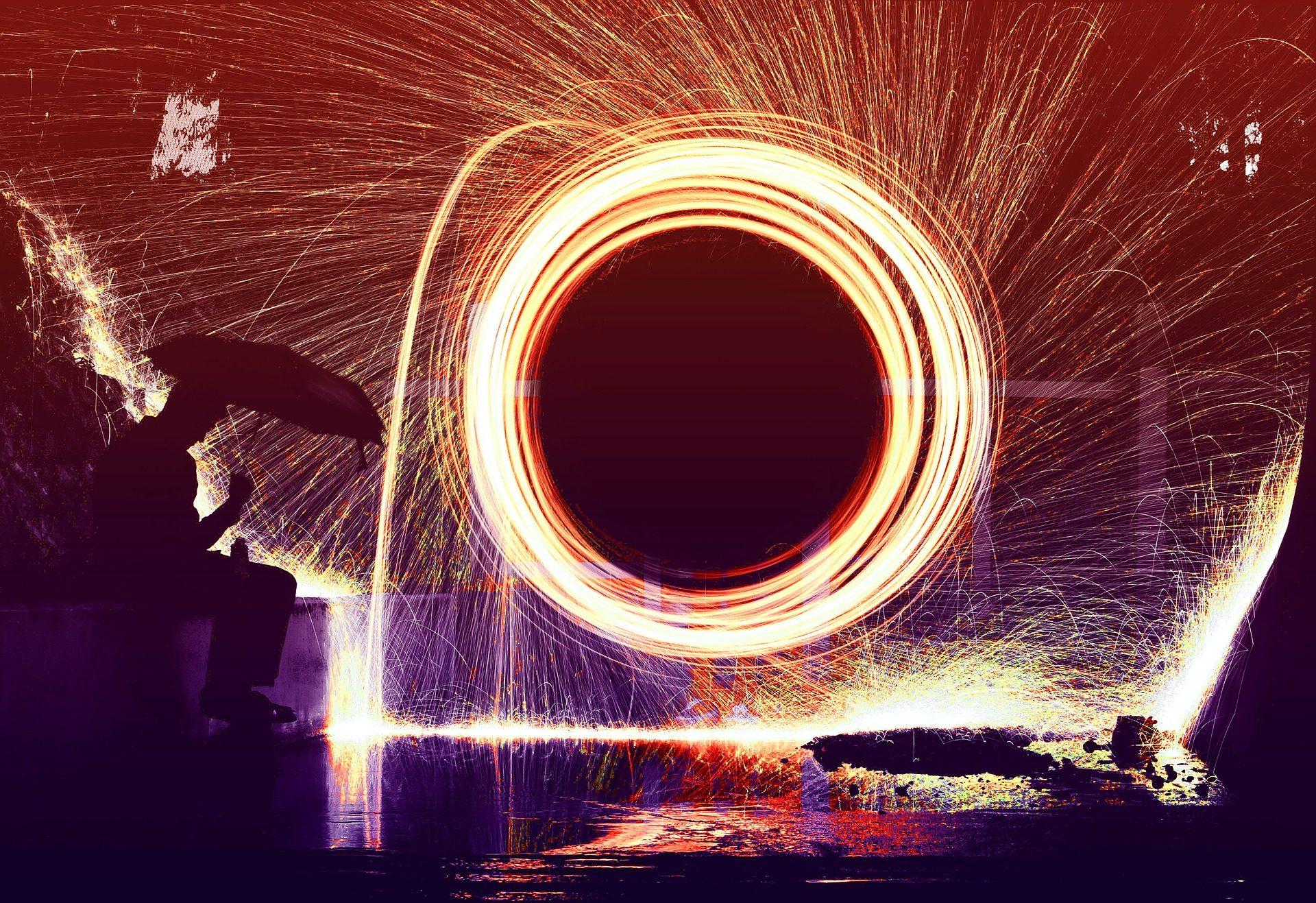 Spirale, Feuer, Sparks, Rad, Mann, Regenschirm, Nacht - Wallpaper HD - Prof.-falken.com