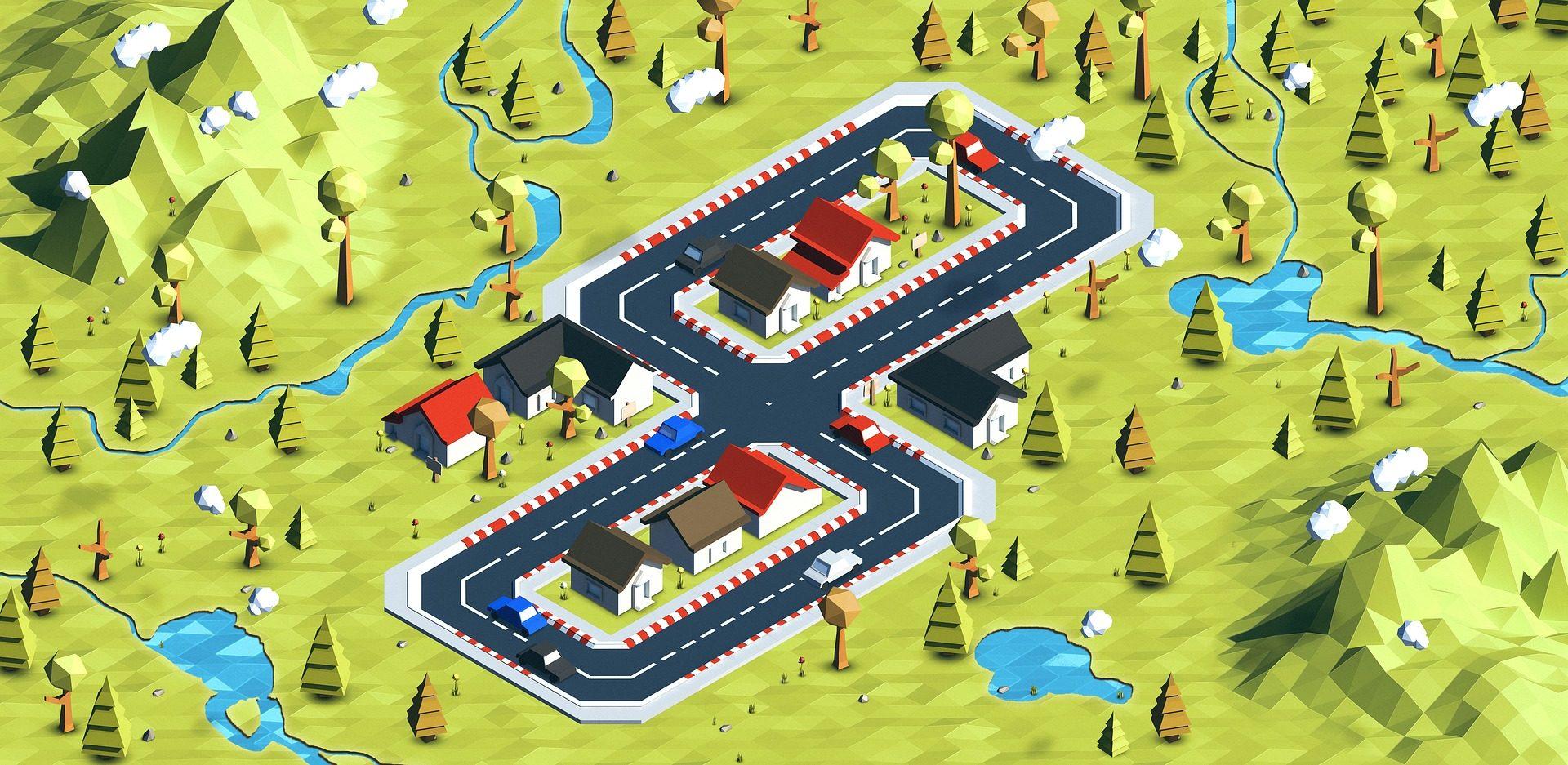 لعبة, مدينة, فيلا, مضلع, متساوي القياس, خريطة, المنازل - خلفيات عالية الدقة - أستاذ falken.com