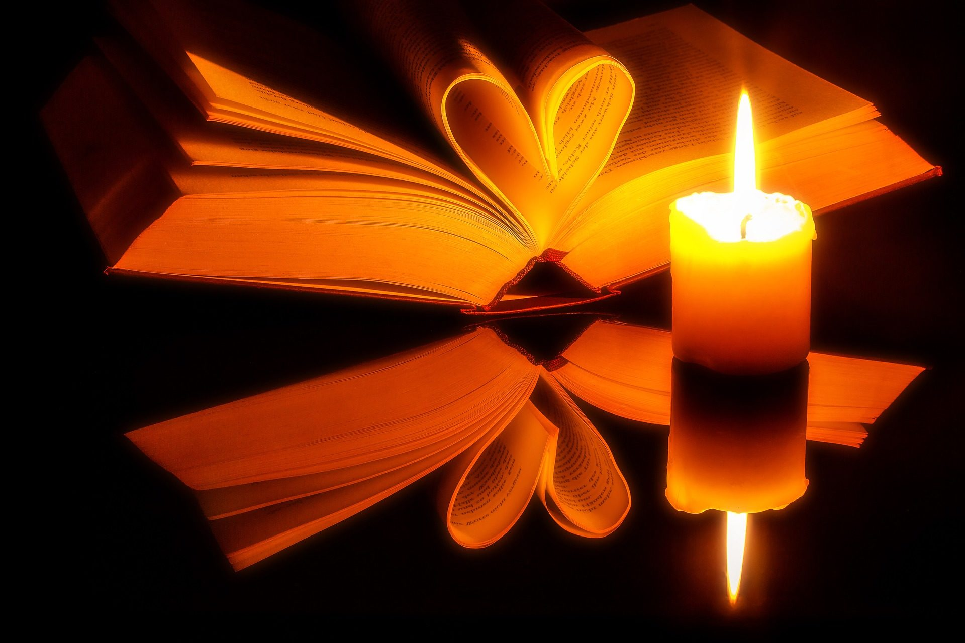 Libro, candela, lettura, tenebre, Dim, cuore, foglie - Sfondi HD - Professor-falken.com