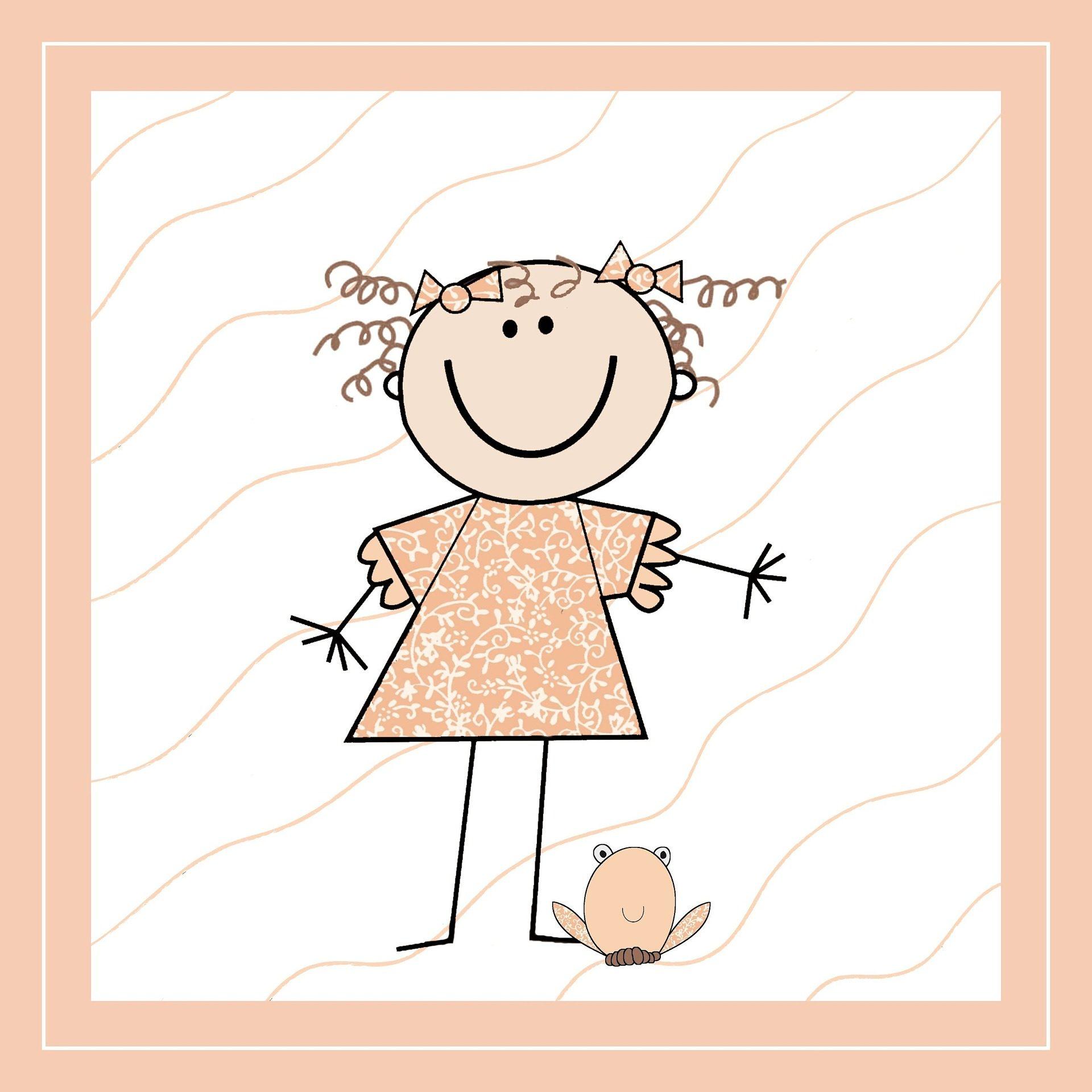 marionnette, dessin, Annonce, naissance, jeune fille, Liens, 1704252058
