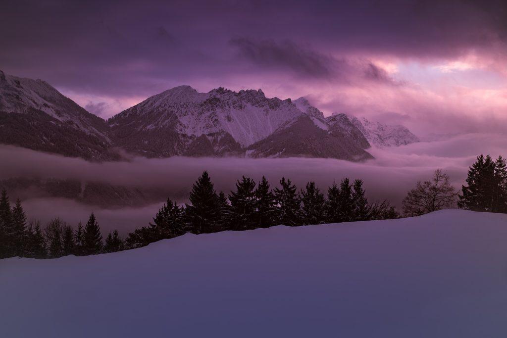 Montañas, 冬天, 雪, 内华达, 感冒, 黑暗, 紫罗兰色, 1704251131