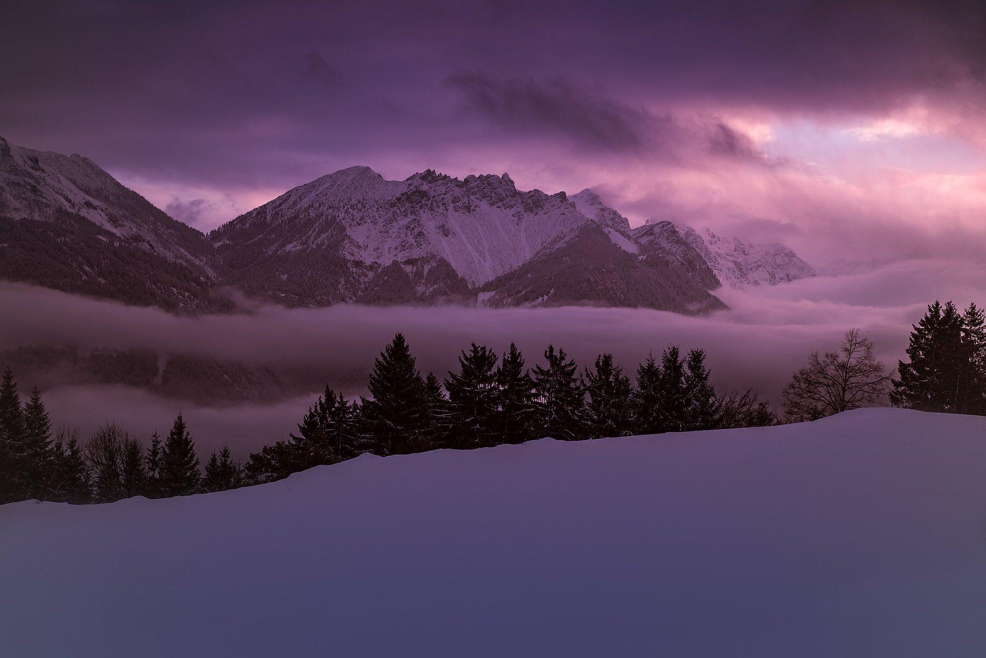 Монтаньяс, Зима, снег, Невадо, холод, Тьма, violáceo - Обои HD - Профессор falken.com