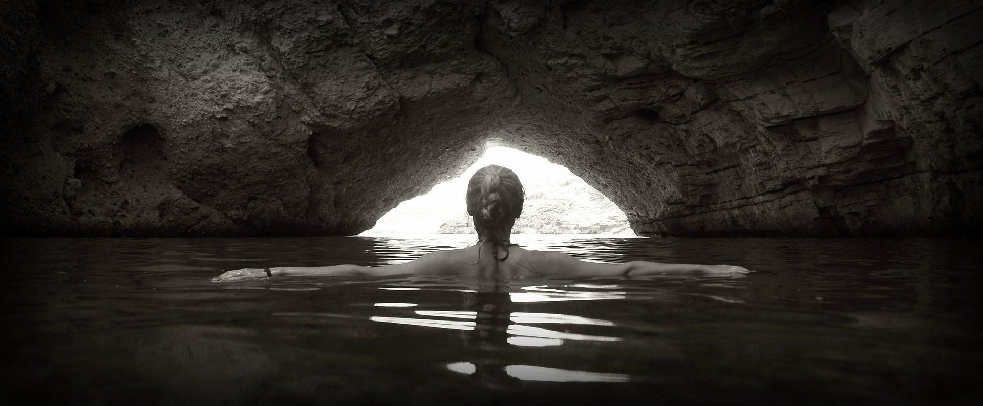 mulher, água, casa de banho, Cueva, oco, luz, Mar - Papéis de parede HD - Professor-falken.com