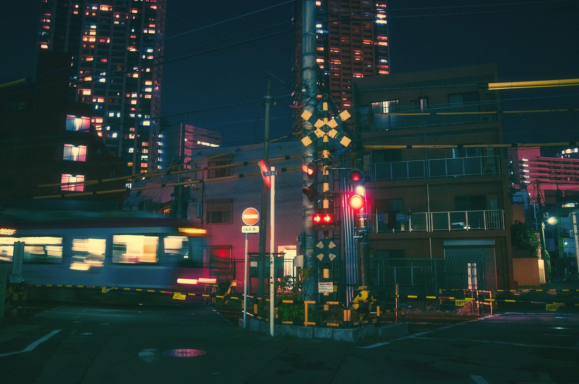 晚上, 城市, 灯, 信号, 房子, 建筑, 大阪, 日本 - 高清壁纸 - 教授-falken.com