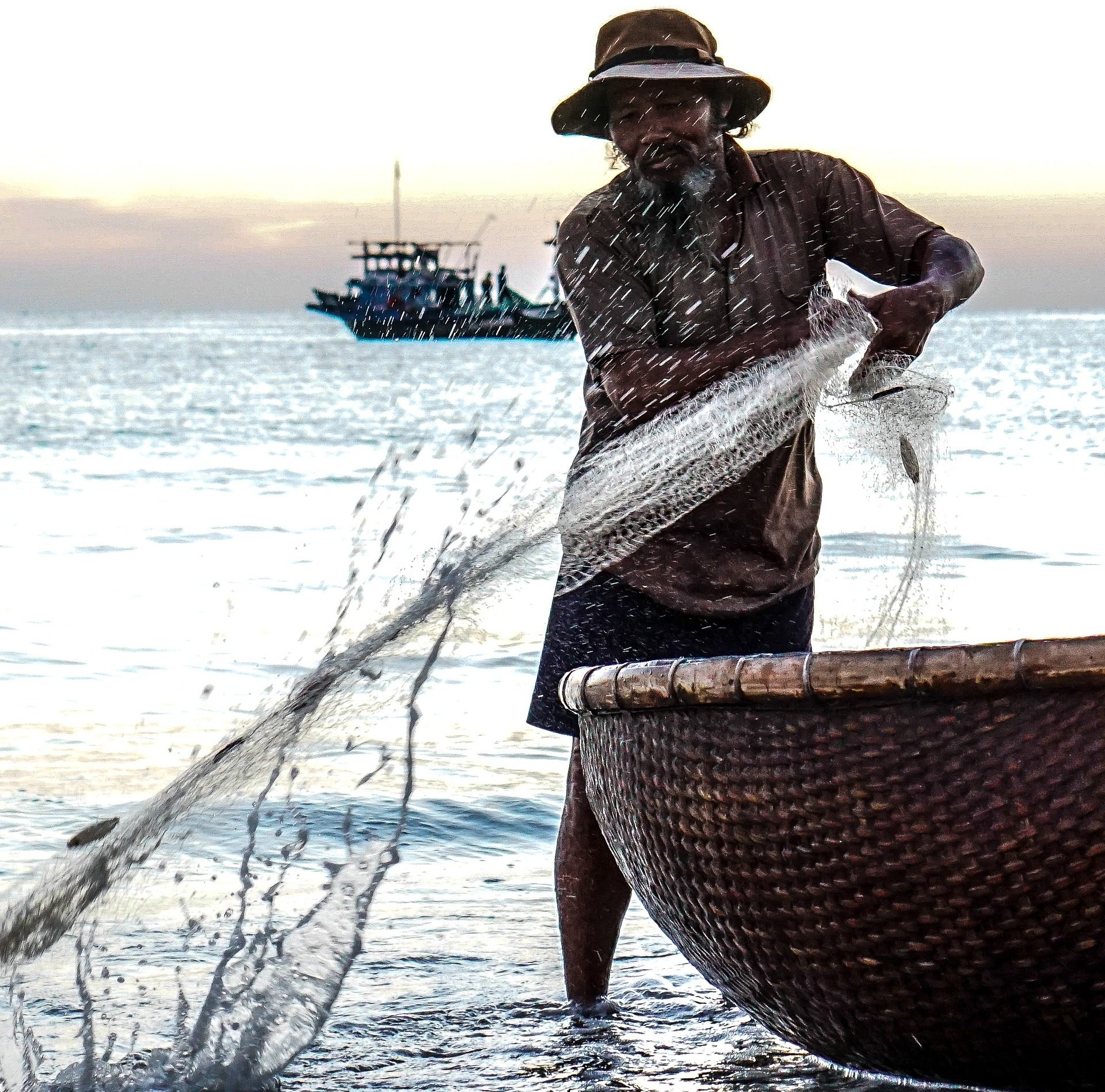 pescador, red, mar, océano, barco, malla - Fondos de Pantalla HD - professor-falken.com