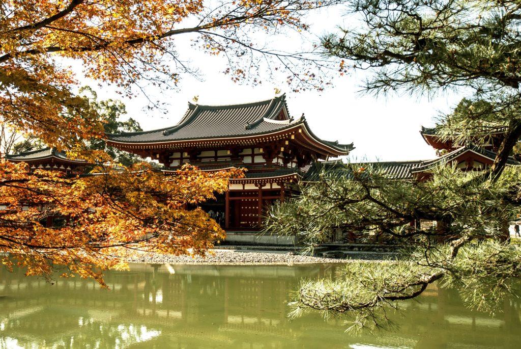寺, 湖, 花园, 祖先, 京都议定书, 日本, 1704171742