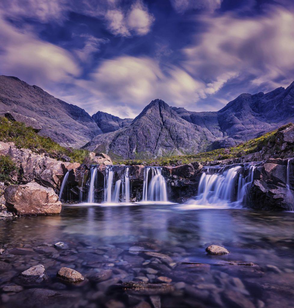 Cachoeira, montañas, água, Rio, Rocas, nuvens, 1705281032
