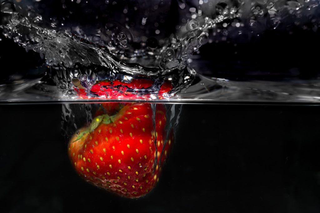 草莓, 水, 飞溅, 滴眼液, sumergida, 1705201206