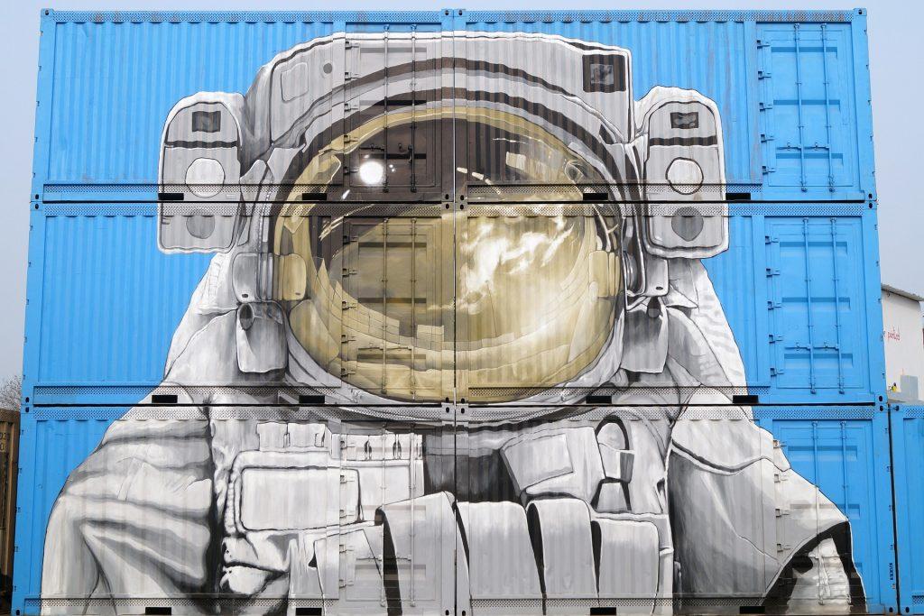grafiti, pintura, astronauta, contenedores, callejero, 1705291523