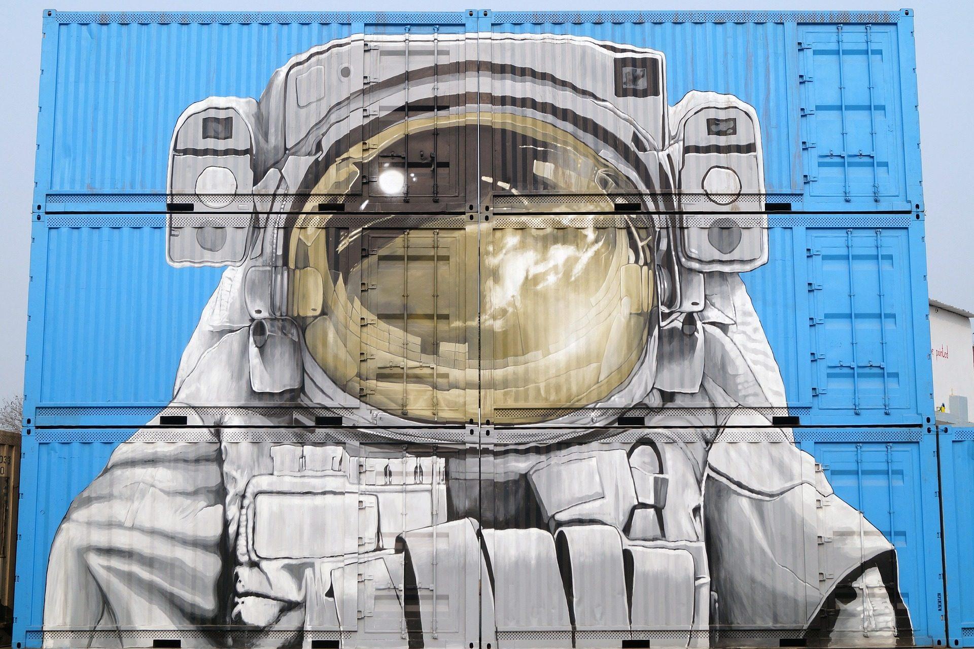 涂鸦, 绘画, 宇航员, 容器, 街道 - 高清壁纸 - 教授-falken.com