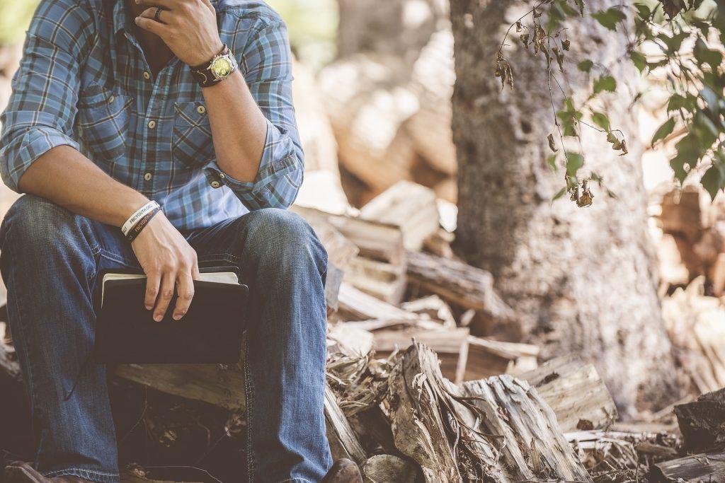 hombre, libro, lectura, sentado, árbol, troncos, mádera, leña, 1705291220
