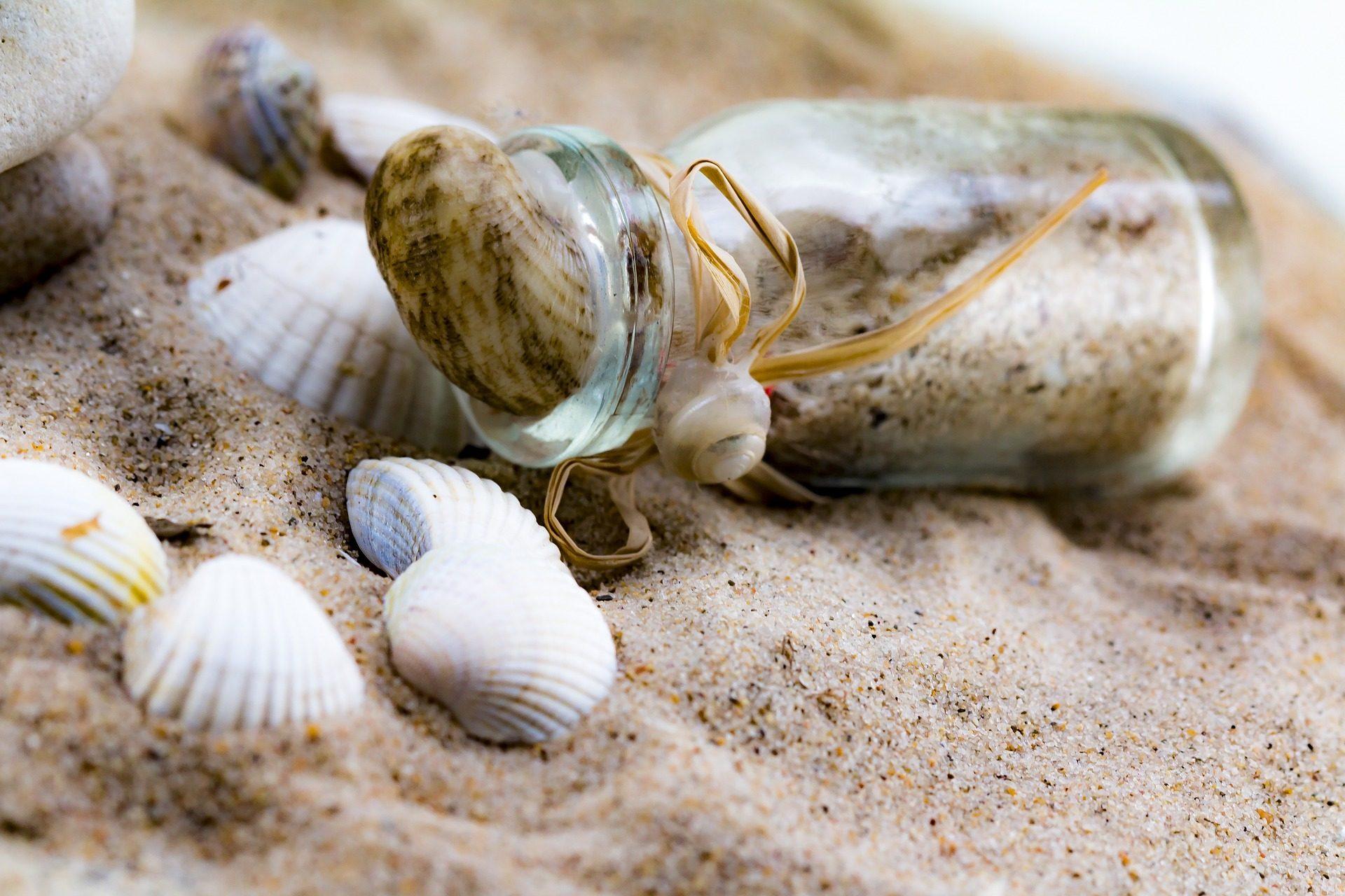 الرمال, قذائف, زجاجة, قارب, الشاطئ, أصداف بحرية - خلفيات عالية الدقة - أستاذ falken.com