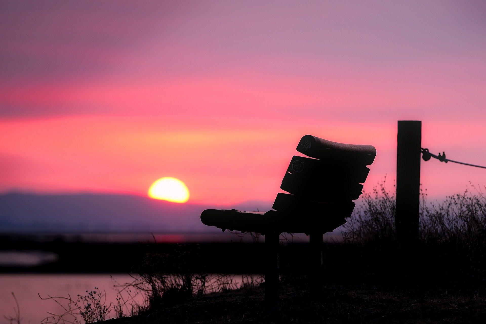 banco, asiento, atardecer, puesta de sol, cielo, rosado, relax - Fondos de Pantalla HD - professor-falken.com