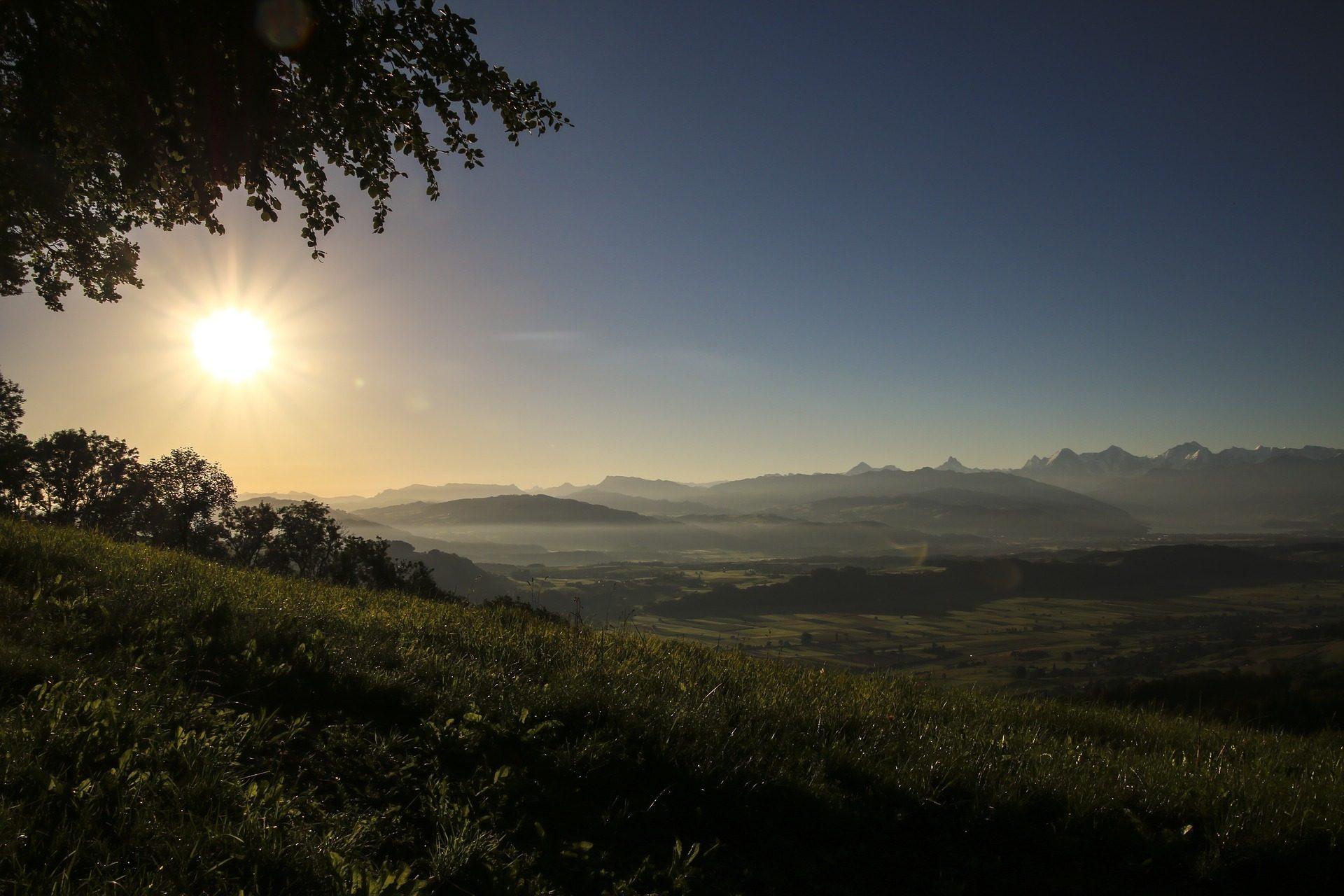 campo, Modos de exibição, distância, horizonte, nevoeiro, amanhecer, Sol, Céu - Papéis de parede HD - Professor-falken.com
